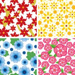 Set floral seamless pattern