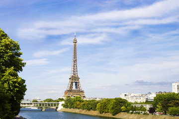 Eiffel Towerfrom the view over Siene, Paris, France