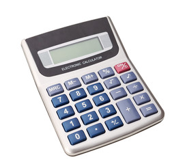 Modern digital calculator for calculations. Business. On a white
