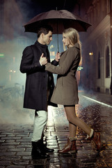 Picture presenting couple during autumn evening