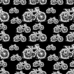 seamless pattern of sketch white bicycle vector