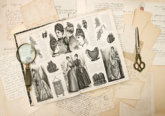 antique accessories, letters and fashion magazine 1888