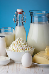Dairy products on wooden table close-up