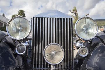 Aluminium Prints Old cars Vintage car details lights and grille, close-up, selective focus