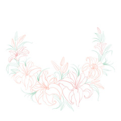 Floral background with blooming lilies.