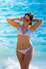 girl in bikini on sea vacation