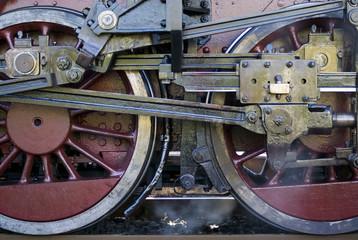 Steam train wheels detail