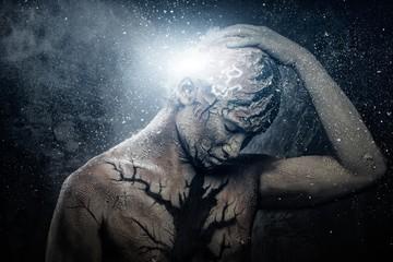 Man with conceptual spiritual body art Wall mural