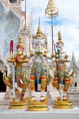 Three thai angel statue in the temple