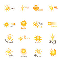 Sun Icons Set - Isolated On White Background - Vector