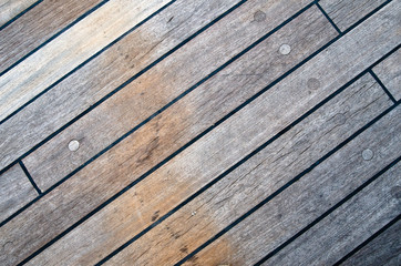 Deck of an ancient sailing vessel, close up