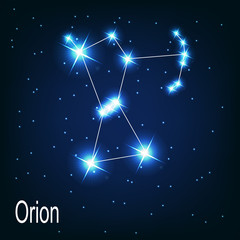 "The constellation ""Orion"" star in the night sky. Vector illustra"