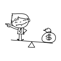 hand drawing cartoon character business person
