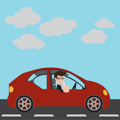 Businessman in a red car and thumbs up. Vector illustration