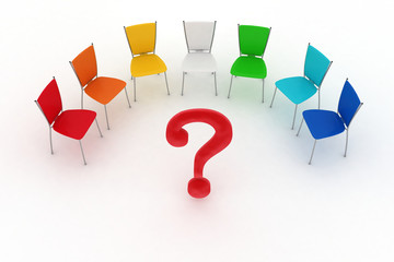 chairs are put by half-round and question mark in center
