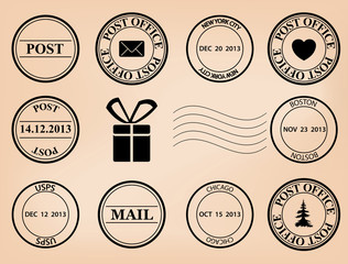 set - vector post stamps