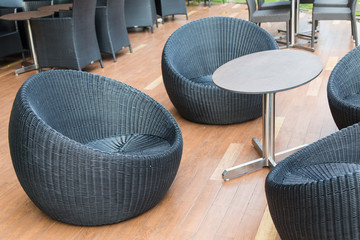 Black  wicker comfortable chair