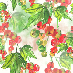 Seamless watercolor background with red currant