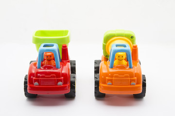 construction toy's car on isolated white