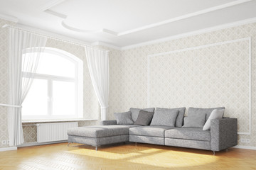Minimal living room with sofa