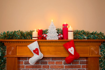 Christmas stockings over a fireplace