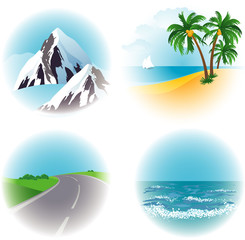 Landscape vector icon set.