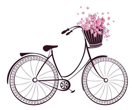 Bicycle with a basket full of flowers and butterflies