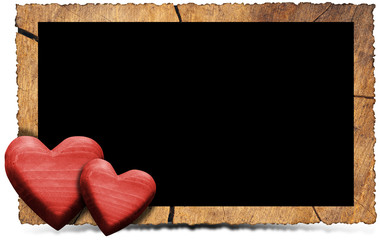 Wooden Photo Frame with Red Hearts