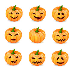 Set pumpkins for Halloween isolated on white