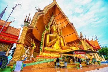 Big golden Buddha in Wat Tham Suea,Kanchanaburi