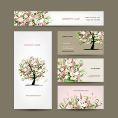 Business cards design with floral tree sketch