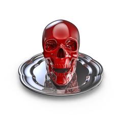Skull platter red