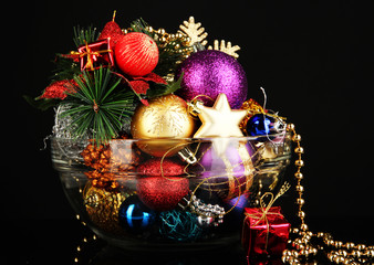 Christmas decorations on black background