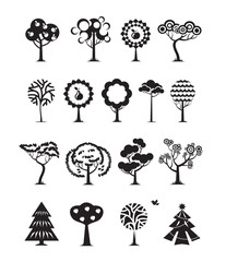 Tree icons. Vector format
