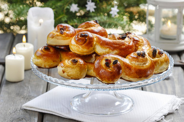 Swedish christmas. Traditional swedish buns in christmas setting