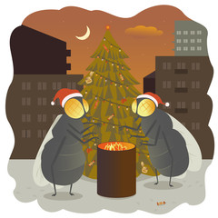 new Year flies fir-tree holiday gala day illustration fire warm