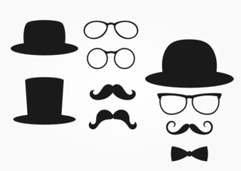 retro design elements, hat, mustache and glasses