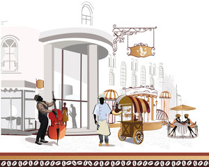 Foto op Canvas Illustratie Parijs Series of street cafes with a musician and a cook