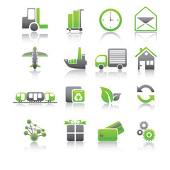 Set of shipping and freight green icons.