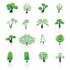 Collection of tree design elements Icons set.