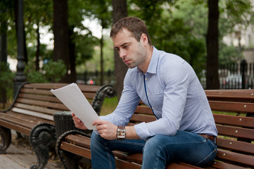 Man relaxing in the public garden