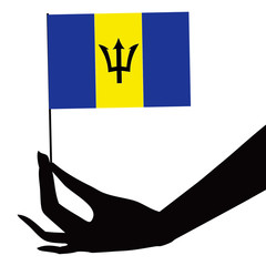 Barbados flag in his hand