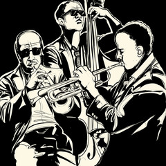 Door stickers Music Band jazz band with trumpet and double bass