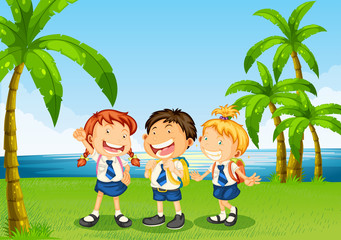 Three pupils at the riverbank
