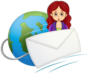 A shocked woman in the middle of the envelope and the globe