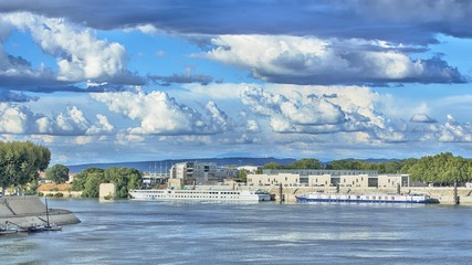 River ships in Arles, France, HDR