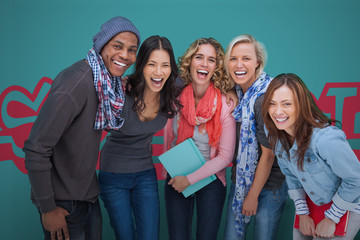 Group of smiling friends posing together