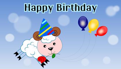 Cartolina di buon compleanno con pecora
