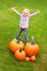Girl collect Pumpkin - Mädchen sammelt Kürbisse