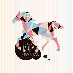 Canvas Prints Geometric animals New year card with horse